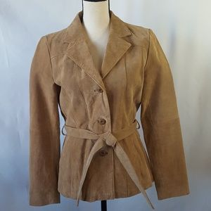 Wilson's Leather Maxima Beige Belted Jacket